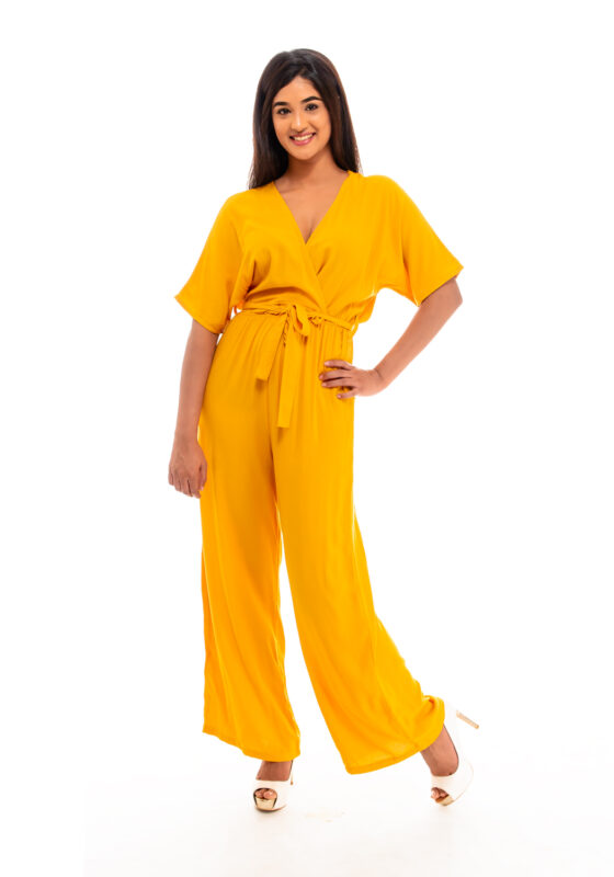 Plain comfortable wrap jumpsuit